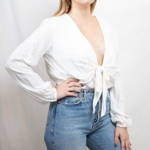 Tie-Front White Blouse